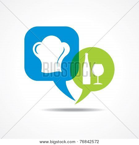 wine galss and chef hat in message bubble stock vector