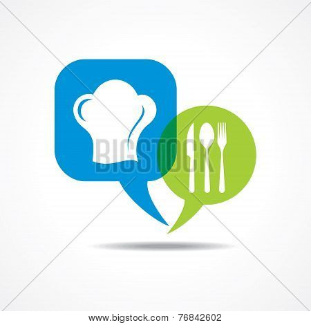 Restaurant forks and chef hat in message bubble stock vector