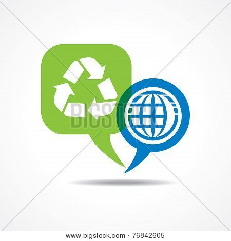Earth and recycle icon in message bubble stock vector