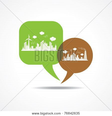 eco and polluted cityscape in message bubble stock vector