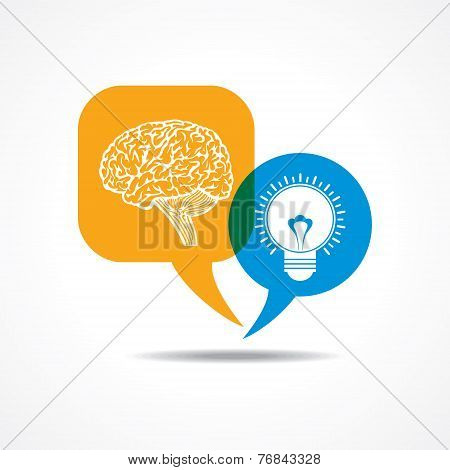 Brain and light-bulb  in message bubble stock vector