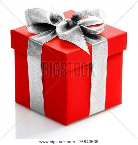 Single red gift box with gold ribbon on white background.
