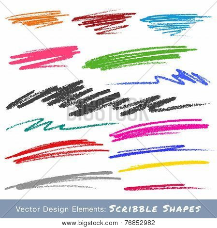 Colorful Scribble Smears Hand Drawn in Pencil