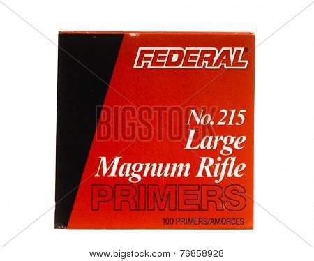 Hayward, CA - November 23, 2014: Box of Federal No. 215 Large Magnum Rifle Primers