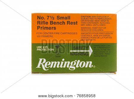 Hayward, CA - November 23, 2014: Box of Remington Small Rifle Bench Rest Primers