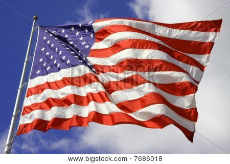 American Flag Blows In Wind