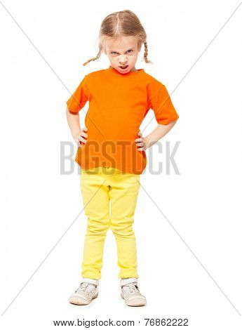 Little spoiled girl at yellow jeans. Child on white background
