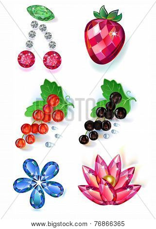 Set of summertime fruit flowers colored gems brooches isolated on white background vector illustration. poster