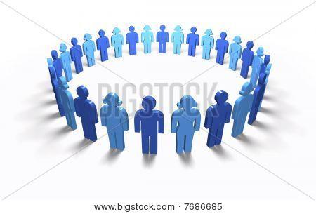 Men Women Blue - Circle, isolated