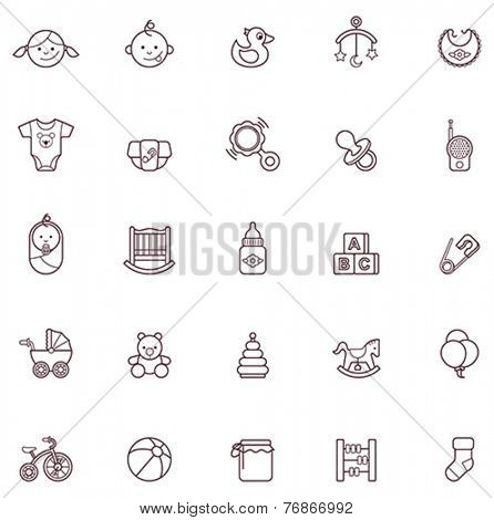 Set of the baby related icons