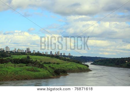 view of river Parana from international bridge between Brazil and Paraguay