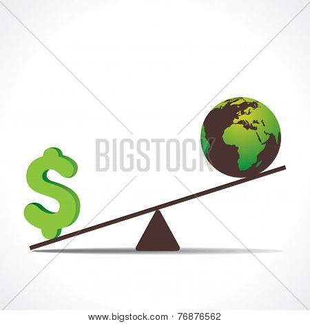 dollar or earth on weighing concept