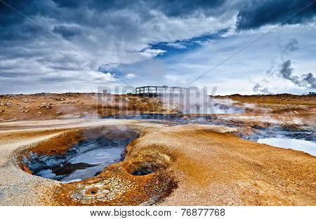 Steaming mud volcano and fumaroles at a highly active geothermal area in Iceland. poster