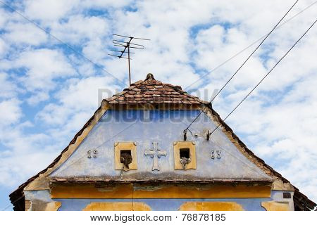 Typical house in saxon village in Romania .In Transylvania region poster