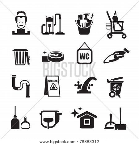cleaning icons set