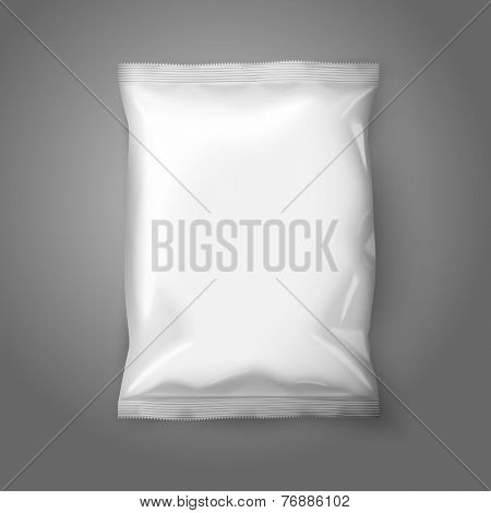 Blank white realistic foil snack pack isolated on grey background with place for your design and bra