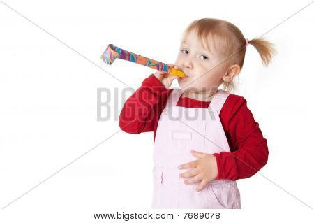 Little Girl With Party Blower