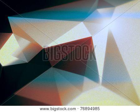 Cyan Orange Geometric Polygonal Triangular Background