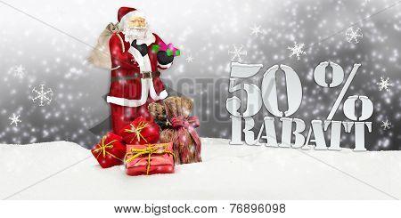 Santa Claus - Merry Christmas 50 percent discount winter snow grey poster