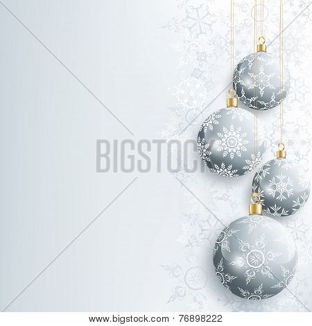 Beautiful New Year And Christmas Card With Gray Christmas Ball