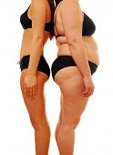 Very thin woman and overweight lady comparing different body shapes poster