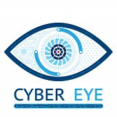 Cyber eye symbol vector icon or cyber logo concept poster