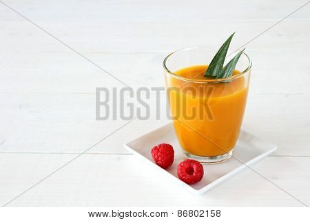 Raspberry, Fruity Mango Smoothie Made From Ripe Fruit