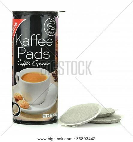A packet of Edeka own brand coffee pads