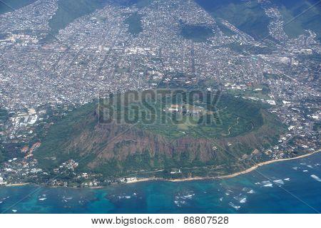 Aerial Of Diamond Head Crater, Kaimuki, Kahala, And Honolulu