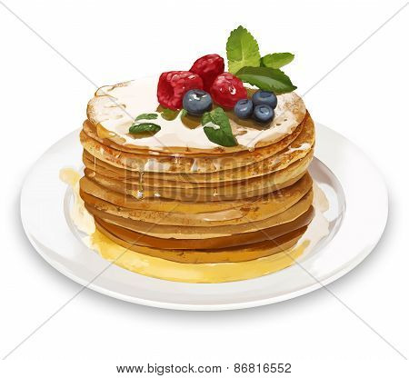 Pancakes With Raspberries, Honey And Blueberries. Digital Illustration.