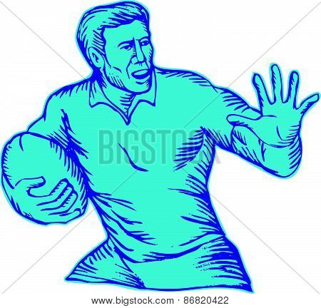 Rugby Player Running Fending Etching