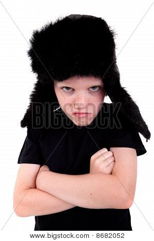 Cute Boy With A Cap, Angry, With Arms Crossed, Isolated On White Background, Studio Shot.