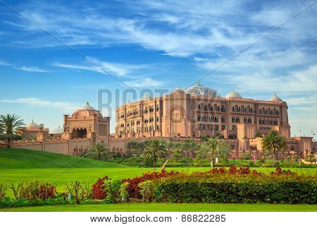 ABU DHABI, UAE - MARCH 29: Emirates Palace and gardens in Abu Dhabi on March 29, 2014, UAE. Five stars Emirates Palace is the second most expensive hotel ever built for about 6 billion USD.