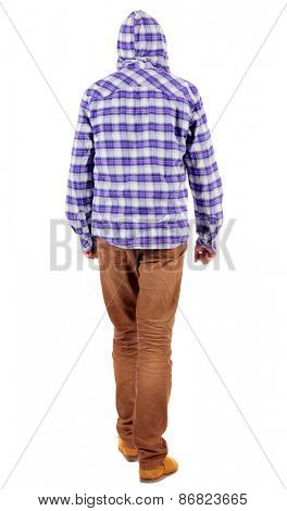 Back view of going  guy in a plaid shirt with hood.  walking young guy in jeans and  jacket. Rear view people collection.  backside view of person.  Isolated over white background.