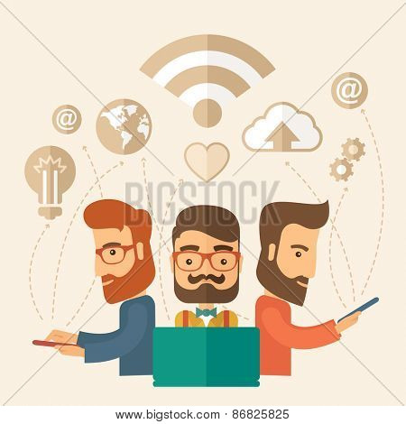 Three outstanding hipster Caucasian employees with beard discussing and sharing brilliant ideas, gathering an information, preparing for their marketing plan presentation using their tablets