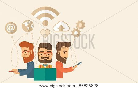 Three outstanding hipster Caucasian employees with beard discussing and sharing brilliant ideas, gathering information, preparing for their marketing plan presentation using their tablets
