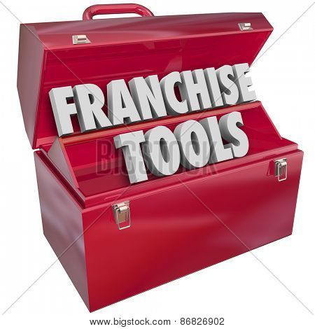 Franchise Tools words in a red metal toolbox to illustrate help, assistance or advice for starting or launching a new licensed company or business in a chain