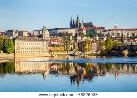 View of Mala Strana and Prague castle and St. Vitus Cathedral over Vltava river in the morning. Prague, Czech Republic