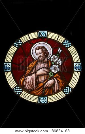 MARIJA BISTRICA, CROATIA - JULY 14: Saint Joseph, stained glass window in Basilica Assumption of the Virgin Mary in Marija Bistrica, Croatia, on July 14, 2014