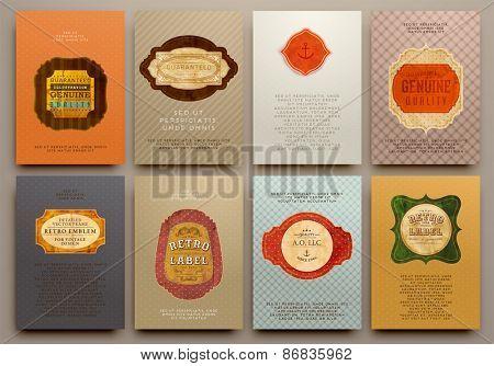 Set of Vintage Labels, Logo, Frames and Brochures. Vector Design Templates Collection for Banners, Flyers, Placards and Posters. Retro Backgrounds.