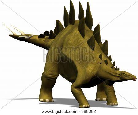 a dinosaur in the kind of a stegosaur - objectlike poster