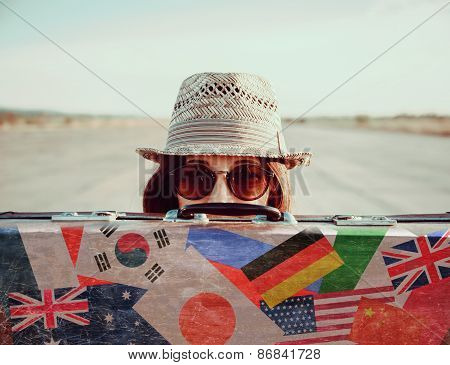 Traveler Girl With A Suitcase