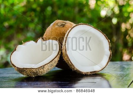 Ripe And Open Coconuts