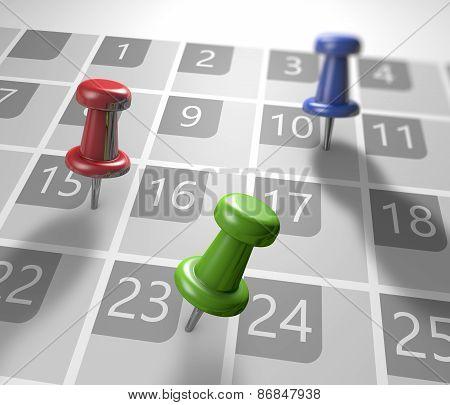 Calendar With Thumbtacks