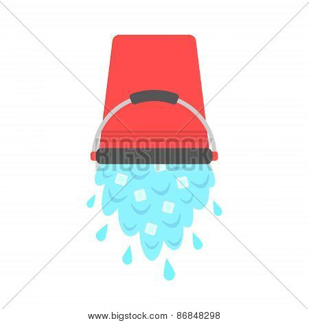 water with ice cubes pouring from red bucket. concept of ice bucket challenge. isolated on white background. flat style design modern vector illustration poster