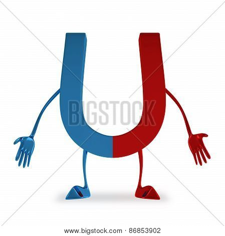 Sad discouraged blue and red glossy magnet character isolated on white background poster