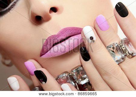 Fashion nails with rhinestones.