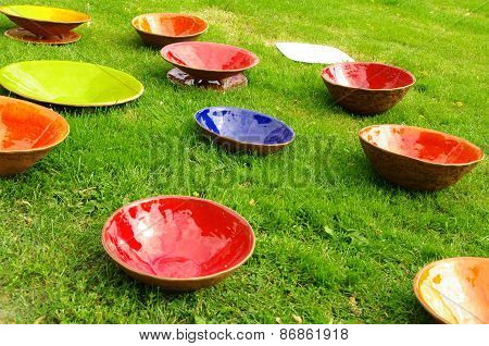 Colored Clay Plates At The Fair Of Artisans In Riga