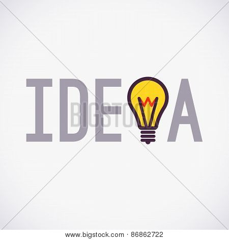 Simple Idea concept design with lamp icon, Logo design, Logotype isolated on white background, vector illustration poster