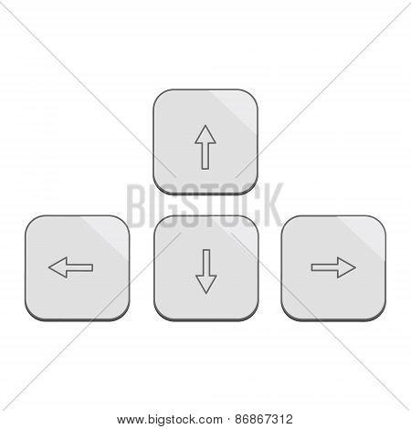 Modern design keybord arrows set in silver